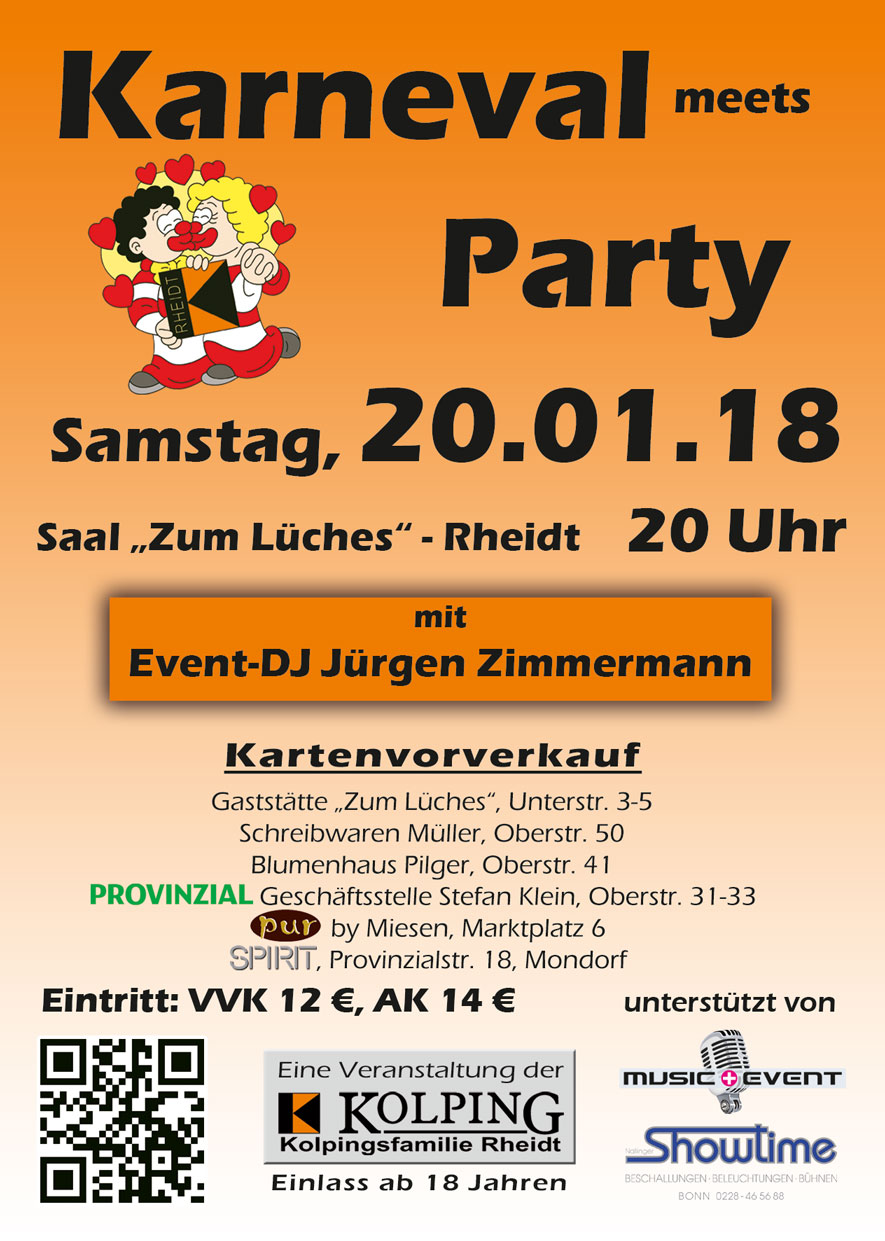 Flyer Karneval meets Party 2018